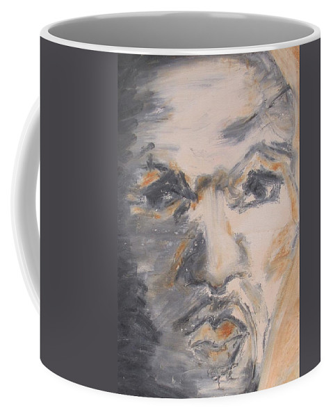 Acrylic Painting Of Man's Face Coffee Mug featuring the painting Man Coming From Shadow by Bonnie Edmond