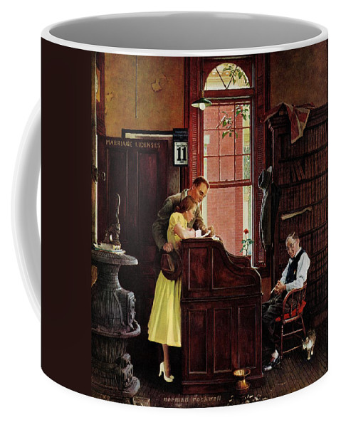 Clerks Coffee Mug featuring the drawing Marriage License by Norman Rockwell