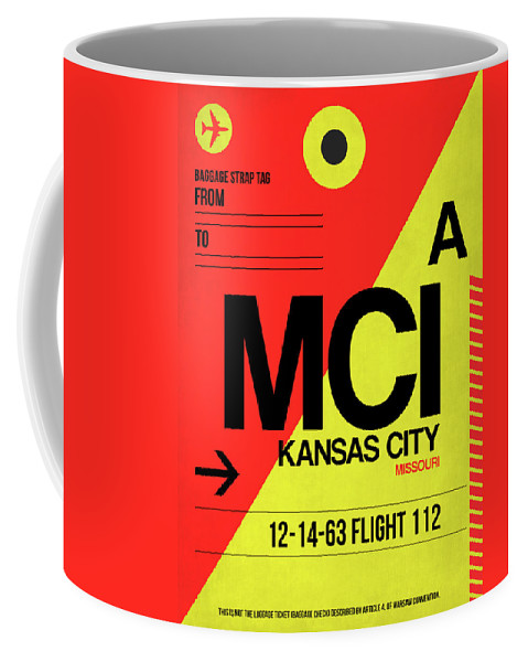 Vacation Coffee Mug featuring the digital art Mci Kansas City Luggage Tag I by Naxart Studio
