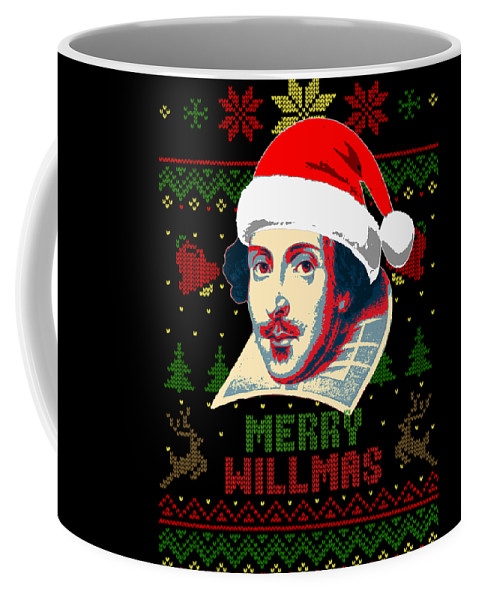 Santa Coffee Mug featuring the digital art Merry Willmas William Shakespeare Christmas by Filip Hellman