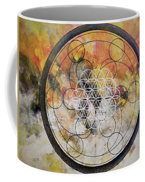 Flower Of Life Coffee Mug featuring the painting Metatronic by Ted Castor