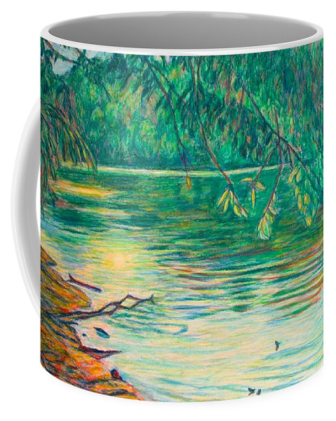 Landscape Coffee Mug featuring the painting Mid-Spring on the New River by Kendall Kessler