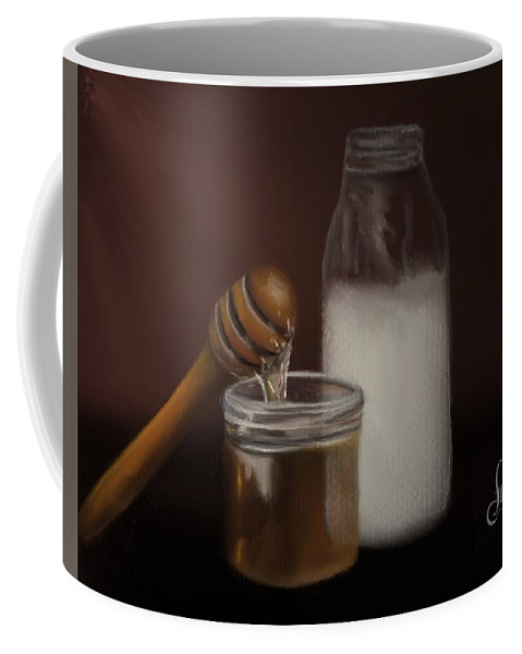 Coffee Mug featuring the painting Milk And Honey by Fe Jones