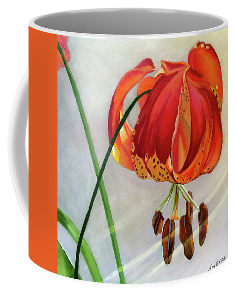 Painting Coffee Mug featuring the painting Moment in the Sun - Lily by Mary Chant