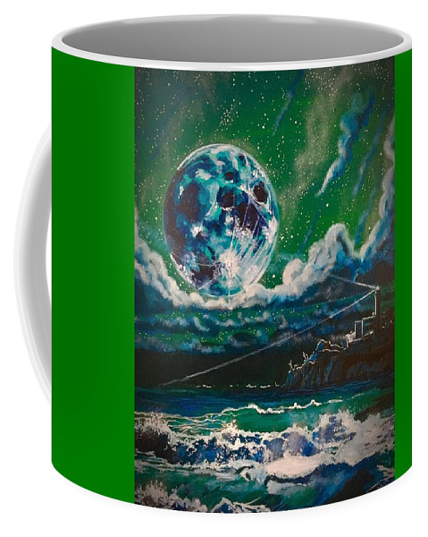 Moon Coffee Mug featuring the painting Moon Over Alcatraz by Joel Tesch