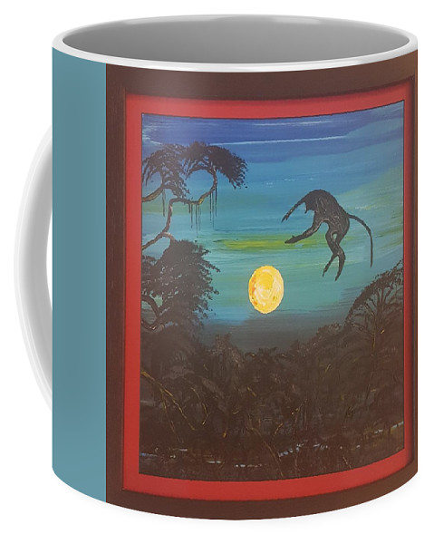 Moonlight Baboon Coffee Mug featuring the photograph Moonlight Baboon by Quintus Curtius