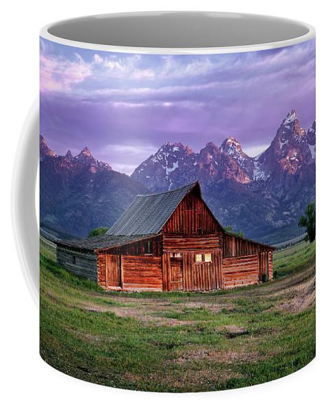 Moulton Barn Coffee Mug featuring the photograph Moulton Barn Sunrise by Leland D Howard