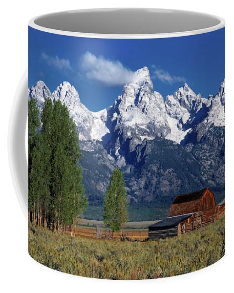 Altitude Coffee Mug featuring the photograph Moulton Barn Tetons by Leland D Howard