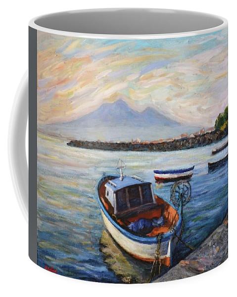 Scenery Coffee Mug featuring the painting Mount Vesuvius by Bruno Cioccia