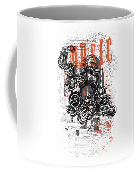 Skull Coffee Mug featuring the digital art Music by Passion Loft