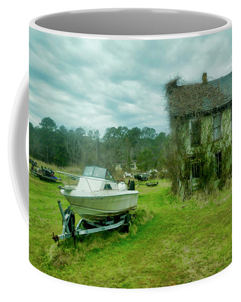 Photograph Of Single Old House Covered In Vines. Boat In Front Of All House. Green Grass Coffee Mug featuring the photograph Auntie's Old House by Joan Reese