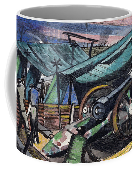 B1019 Coffee Mug featuring the painting A Howitzer Firing, 1918 by Paul Nash