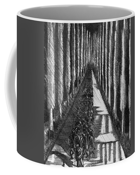 B1019 Coffee Mug featuring the drawing Men Marching At Night, 1918 by Paul Nash