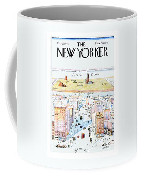 #condenastnewyorkercover Coffee Mug featuring the painting New Yorker March 29, 1976 by Saul Steinberg