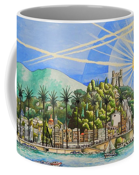 France Coffee Mug featuring the painting Nice Waterfront by Neal Winfield