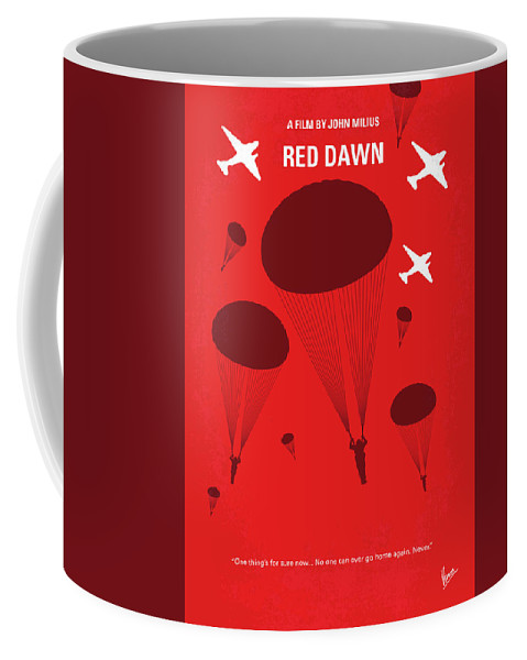 Red Coffee Mug featuring the digital art No1018 My Red Dawn Minimal Movie Poster by Chungkong Art
