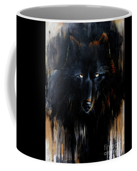 Wolf Coffee Mug featuring the painting Noir by Sandi Baker