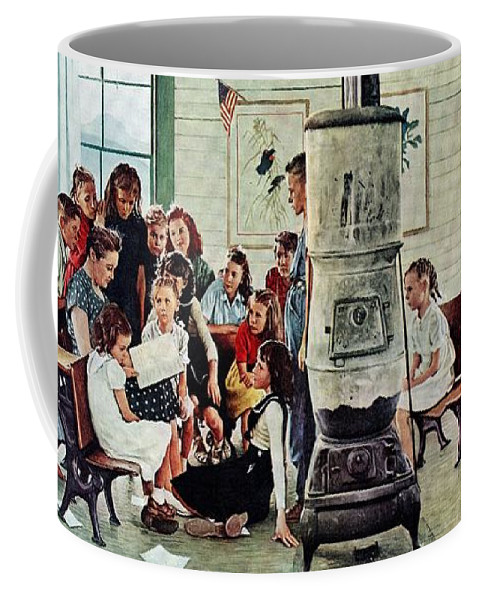 Book Coffee Mug featuring the drawing Norman Rockwell Visits A Country School by Norman Rockwell