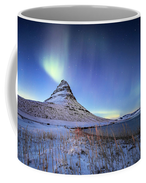 Beautiful Iceland Coffee Mug featuring the photograph Northern Lights Atop Kirkjufell Iceland by Nathan Bush