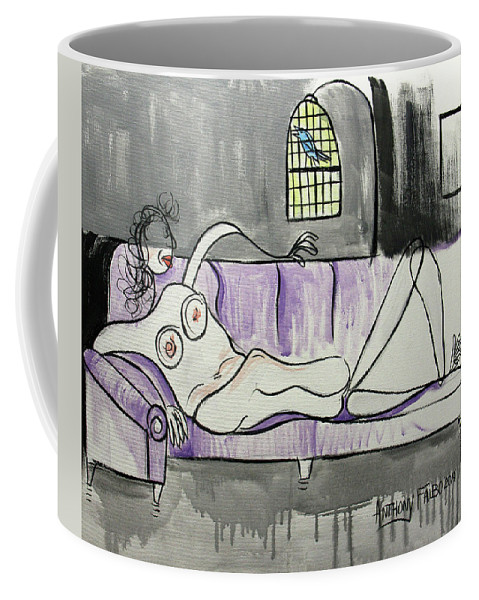 Whimsical Coffee Mug featuring the painting Nude Woman With Bird by Anthony Falbo
