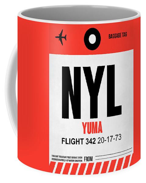 Yuma Coffee Mug featuring the digital art Nyl Yuma Luggage Tag I by Naxart Studio