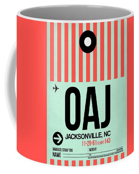 Vacation Coffee Mug featuring the digital art Oaj Jacksonville Luggage Tag I by Naxart Studio