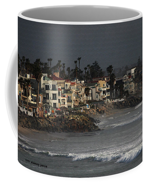 Oceanside California Beach Front Coffee Mug featuring the digital art Oceanside California Beach Front by Tom Janca