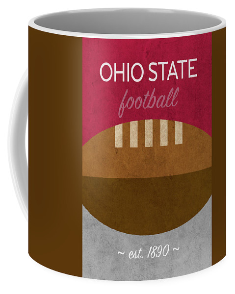 Ohio State Coffee Mug featuring the mixed media Ohio State Football Minimalist Retro Sports Poster Series 003 by Design Turnpike