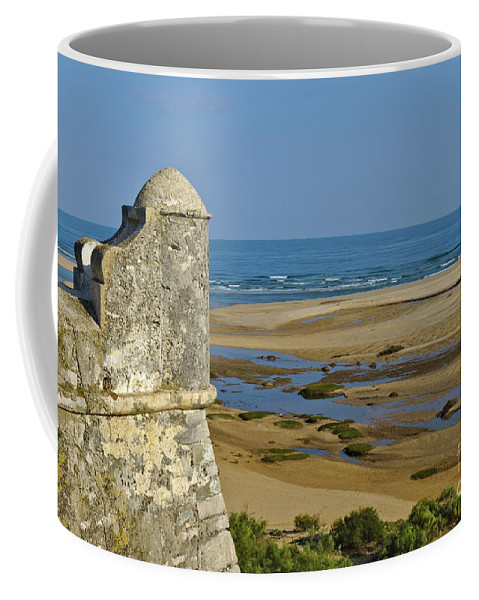 Old Coffee Mug featuring the photograph Old Fortress Guarding Tower In Portugal by Angelo DeVal