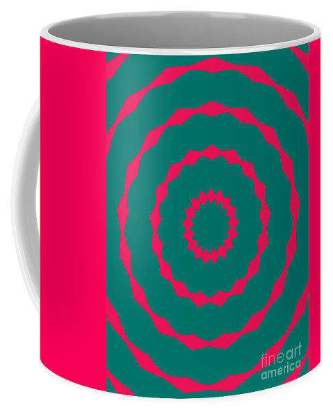 Round Coffee Mug featuring the painting Ornament Number Five by Alex Caminker