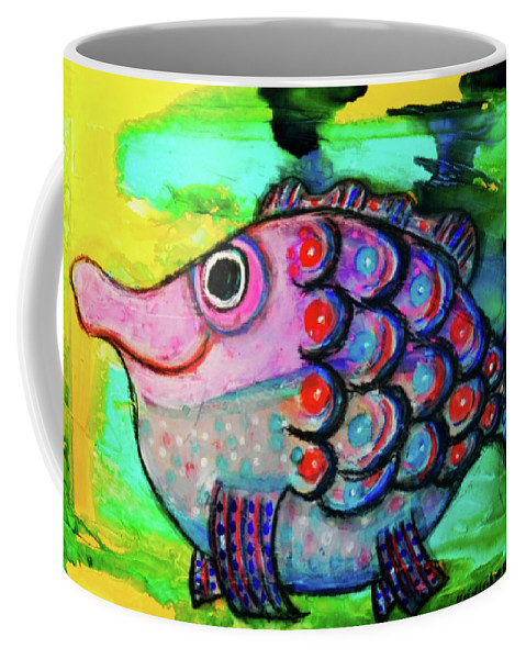 Fish Coffee Mug featuring the mixed media Oscar The Nosefish by Mimulux patricia No