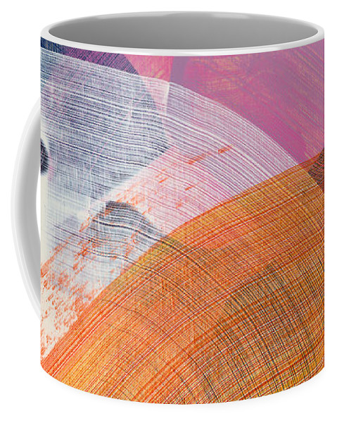 Abstract Coffee Mug featuring the painting Out Of The Blue 01 by Claire Desjardins