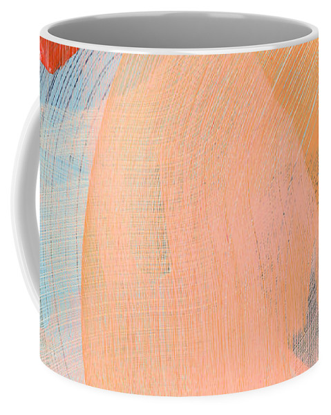 Abstract Coffee Mug featuring the painting Out Of The Blue 02 by Claire Desjardins