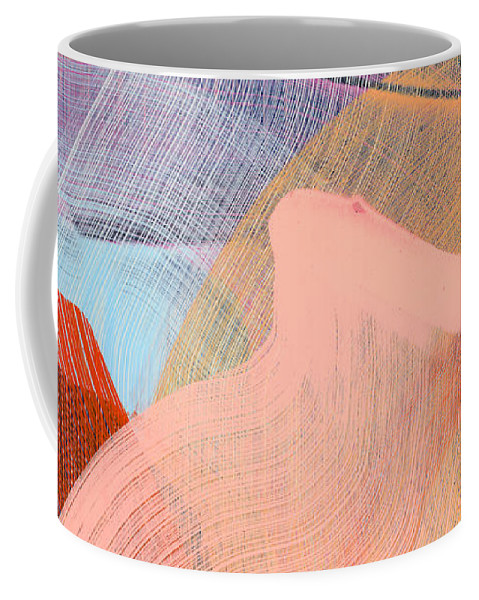Abstract Coffee Mug featuring the painting Out Of The Blue 03 by Claire Desjardins