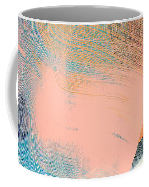 Abstract Coffee Mug featuring the painting Out Of The Blue 06 by Claire Desjardins