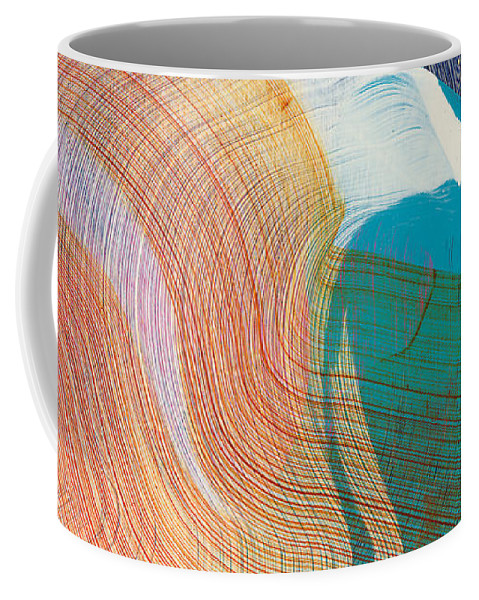 Abstract Coffee Mug featuring the painting Out Of The Blue 07 by Claire Desjardins
