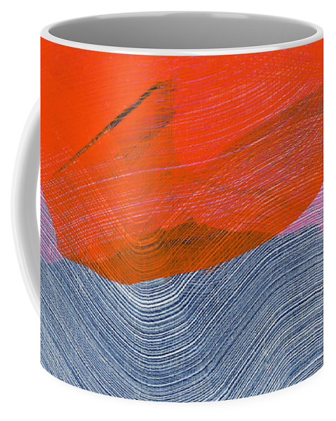 Abstract Coffee Mug featuring the painting Out Of The Blue 08 by Claire Desjardins