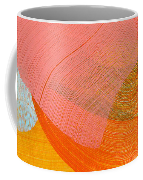 Abstract Coffee Mug featuring the painting Out Of The Blue 10 by Claire Desjardins