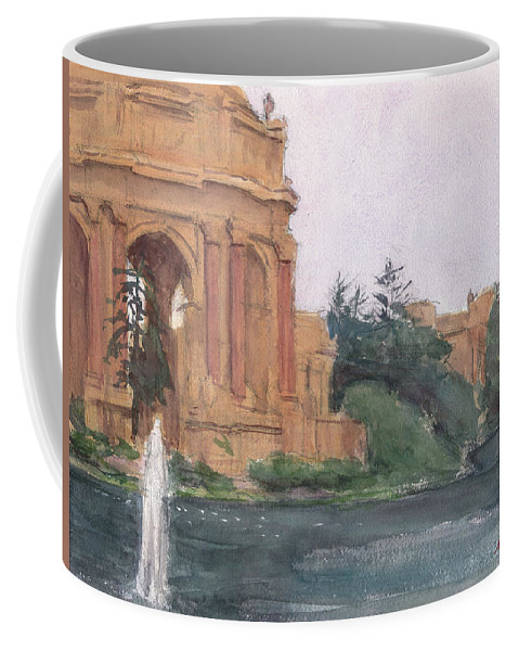 Plein Air Coffee Mug featuring the painting Palace Of Fine Arts, 2018 by Walter Lynn Mosley