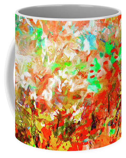 Abstract Coffee Mug featuring the mixed media Panoramic Landscape Dreams of Nature by Ginette Callaway