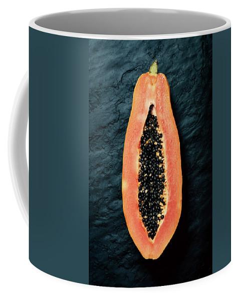 Papaya Coffee Mug featuring the photograph Papaya Cross-section On Dark Slate by Johan Swanepoel