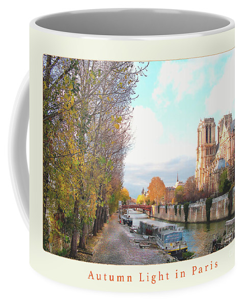 Paris Coffee Mug featuring the photograph Paris Notre Dame Autumn Poster Beige by Felipe Adan Lerma