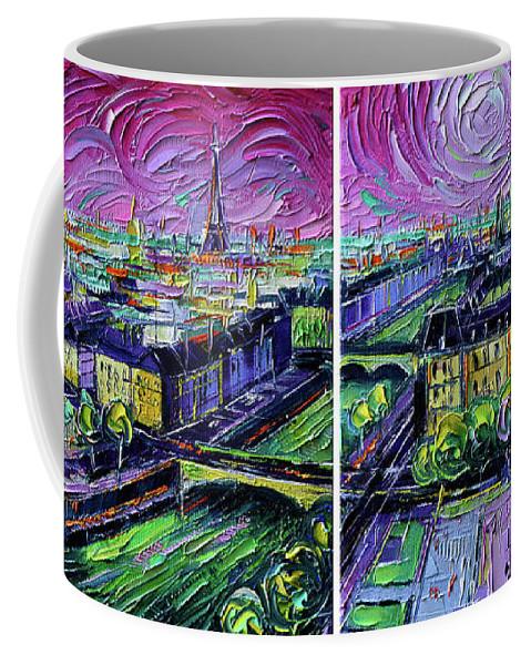 Paris Gargoyle Coffee Mug featuring the painting Paris View With Gargoyles - Textural Impressionist Diptych Oil Painting Mona Edulesco  by Mona Edulesco