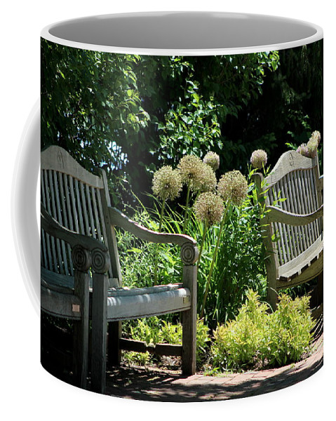 """Park Benches At Chicago Botanical Gardens""Fine Art Photograph on Mug"