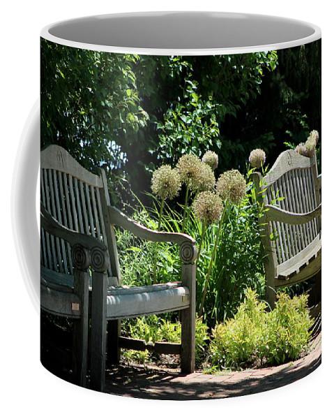 """Park Benches At Chicago Botanical Gardens""Fine Art Photograph on Mug"