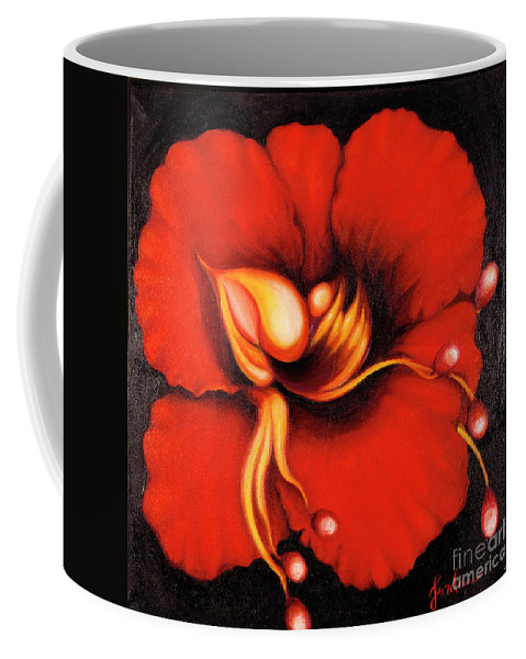 Red Surreal Bloom Artwork Coffee Mug featuring the painting Passion Flower by Jordana Sands