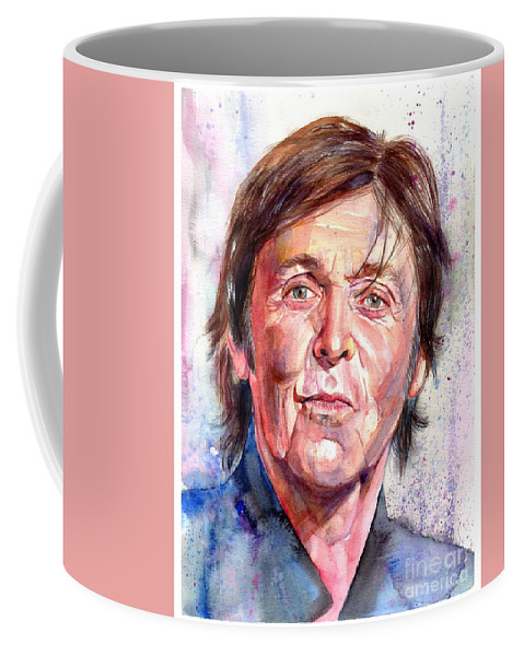 Paul Coffee Mug featuring the painting Paul McCartney Watercolor by Suzann Sines