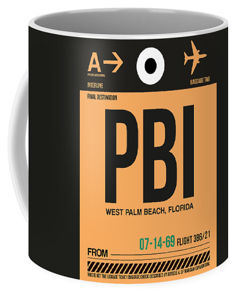 Vacation Coffee Mug featuring the digital art Pbi West Palm Beach Luggage Tag I by Naxart Studio