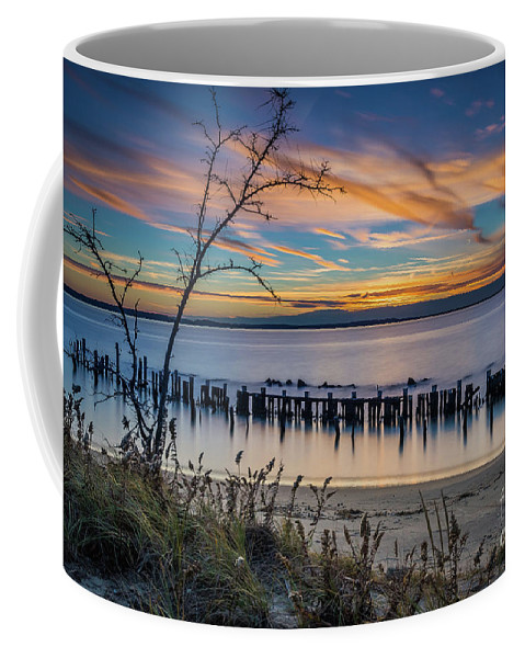 Lower New York Bay Coffee Mug featuring the photograph Peaceful Sunset At Sandy Hook by Imma Barrera