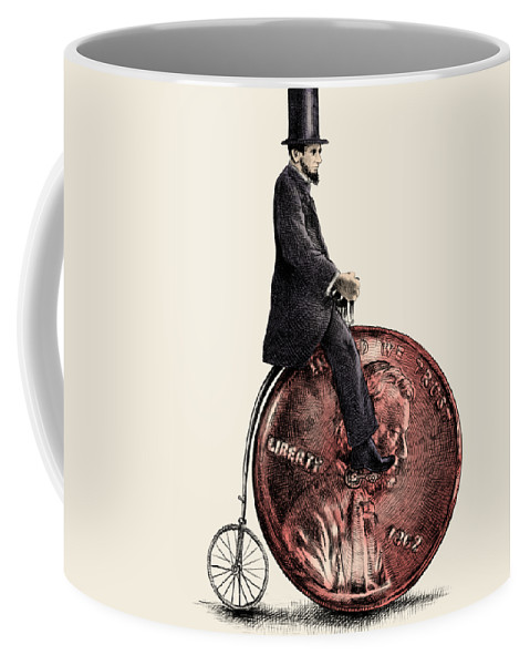 Abe Coffee Mug featuring the digital art Penny Farthing by Eric Fan
